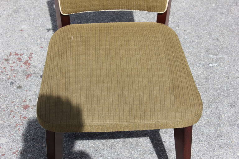 Fabric Beautiful Set of Six French Art Deco Solid Walnut Dining Chairs, circa 1940s For Sale