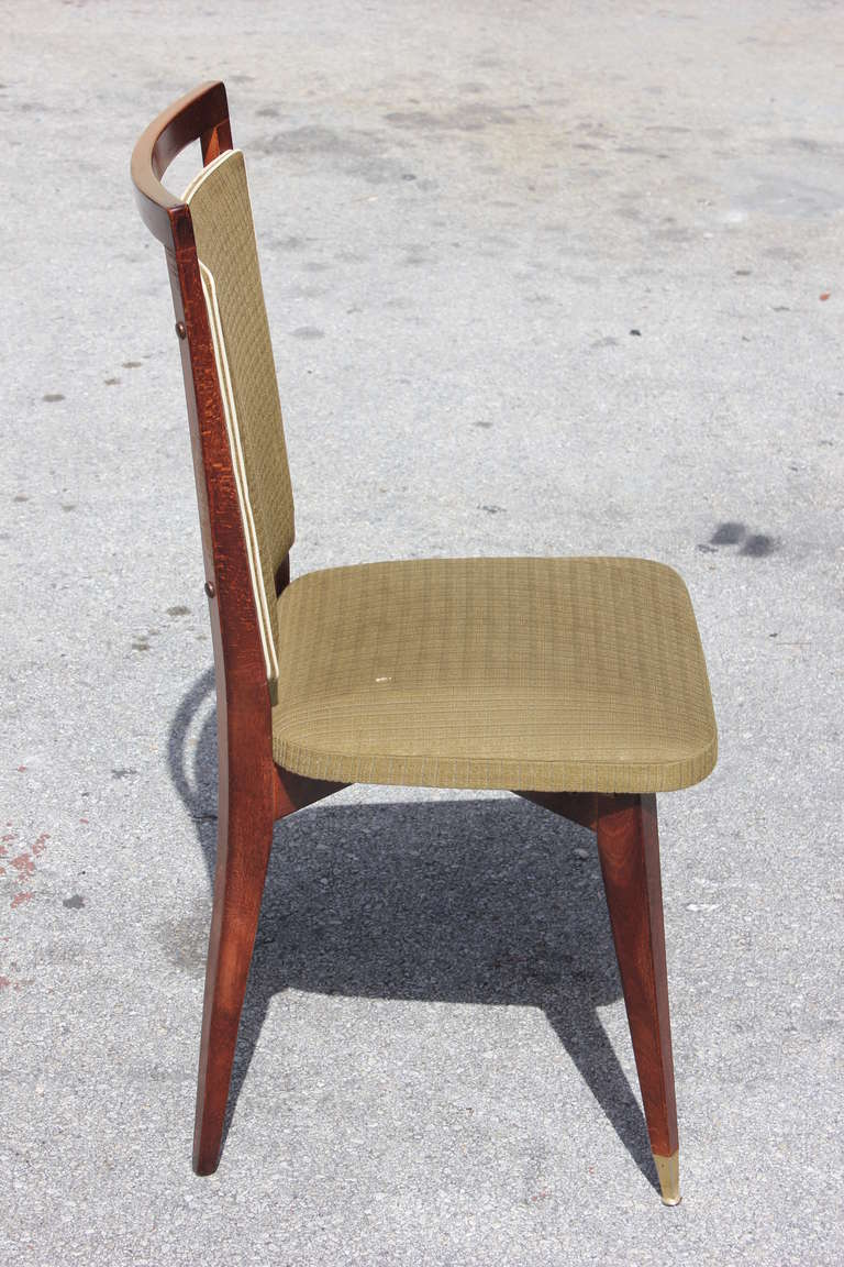 Beautiful Set of Six French Art Deco Solid Walnut Dining Chairs, circa 1940s For Sale 1
