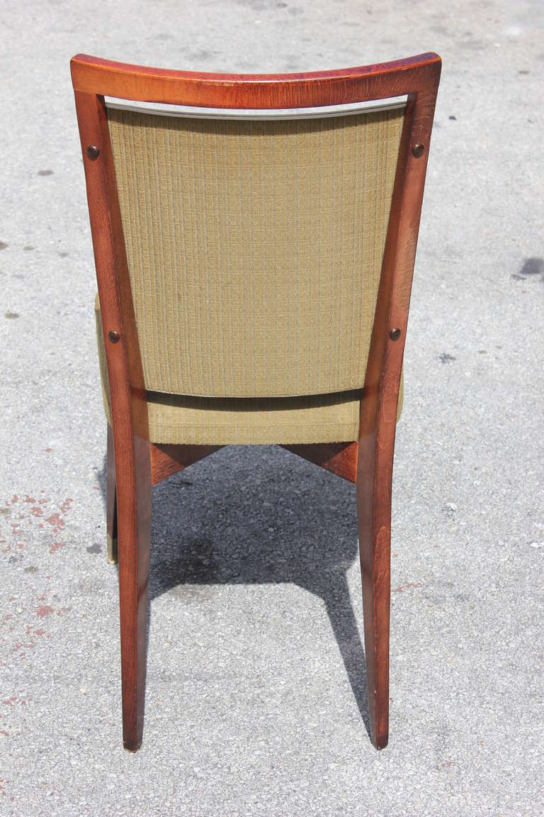 Beautiful Set of Six French Art Deco Solid Walnut Dining Chairs, circa 1940s For Sale 2