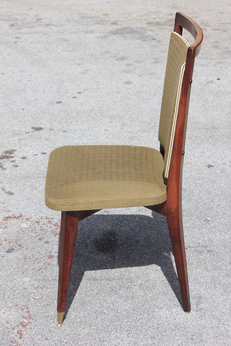 Beautiful Set of Six French Art Deco Solid Walnut Dining Chairs, circa 1940s For Sale 3