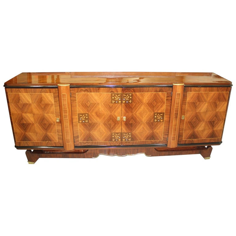 Classic French Art Deco Palisander, Jules Leleu Sideboard or Buffet, circa 1940s For Sale