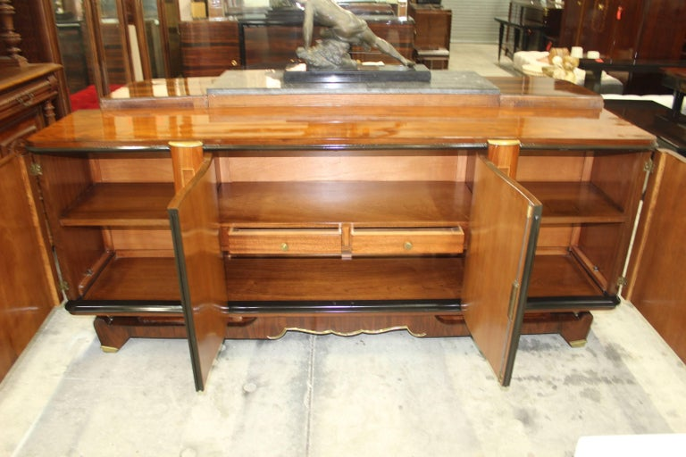 Classic French Art Deco Palisander, Jules Leleu Sideboard or Buffet, circa 1940s In Excellent Condition For Sale In Hialeah, FL