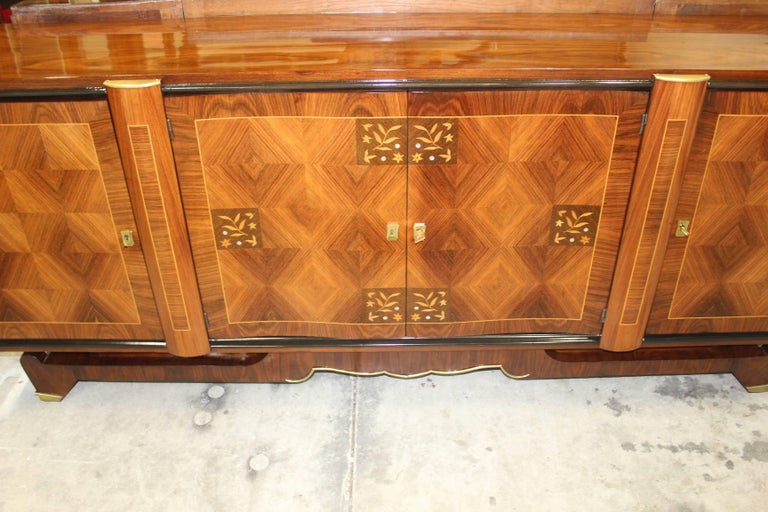 Bronze Classic French Art Deco Palisander, Jules Leleu Sideboard or Buffet, circa 1940s For Sale