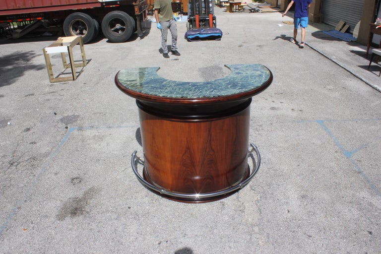 Chrome Spectacular French Art Deco Macassar Ebony Semicircle Dry Bar, circa 1940s For Sale