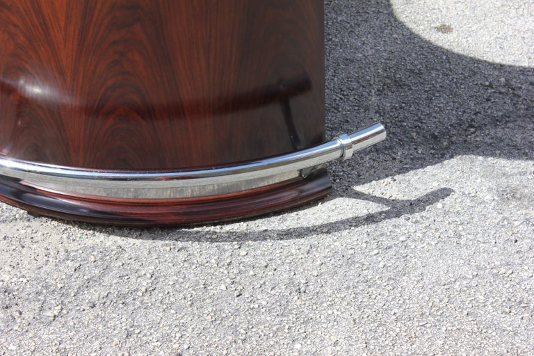 Spectacular French Art Deco Macassar Ebony Semicircle Dry Bar, circa 1940s For Sale 2
