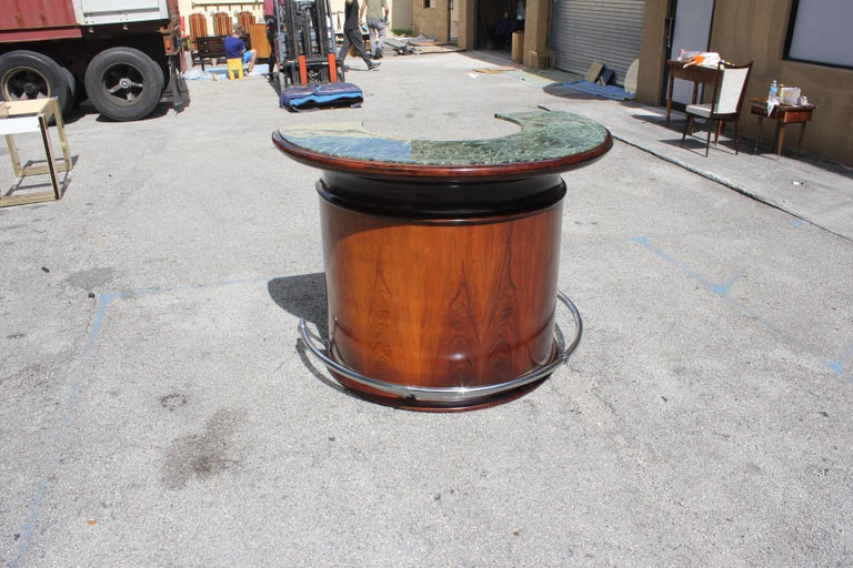 Spectacular French Art Deco Macassar Ebony Semicircle Dry Bar, circa 1940s For Sale 3