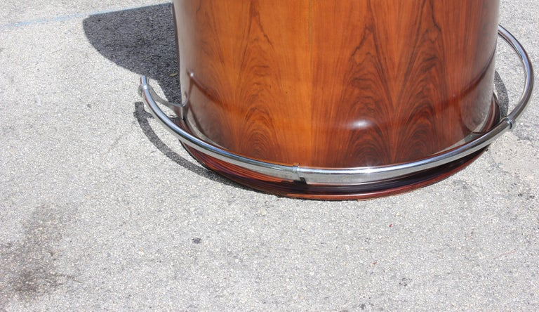 Spectacular French Art Deco Macassar Ebony Semicircle Dry Bar, circa 1940s For Sale 6
