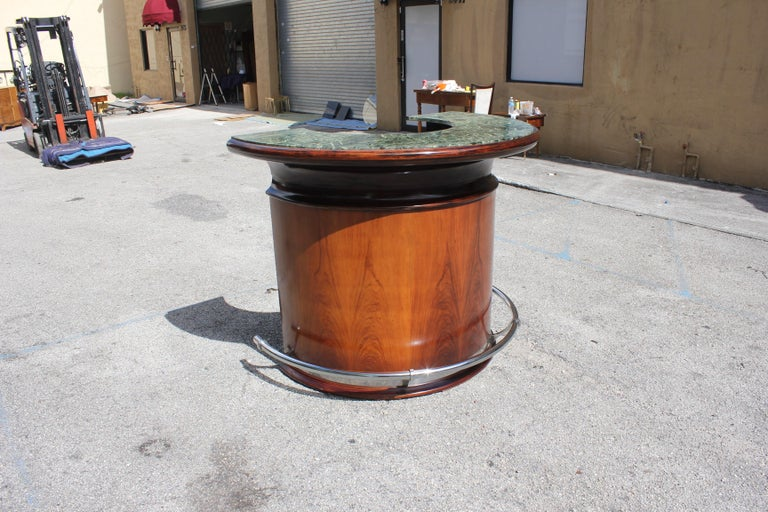 Spectacular French Art Deco Macassar Ebony Semicircle Dry Bar, circa 1940s For Sale 13