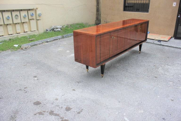 French Art Deco Exotic Macassar Bony Sideboard or Buffet, circa 1940s In Excellent Condition For Sale In Hialeah, FL