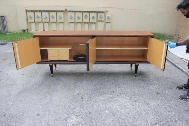 Brass French Art Deco Exotic Macassar Bony Sideboard or Buffet, circa 1940s For Sale