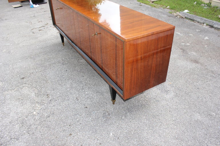 French Art Deco Exotic Macassar Bony Sideboard or Buffet, circa 1940s For Sale 4