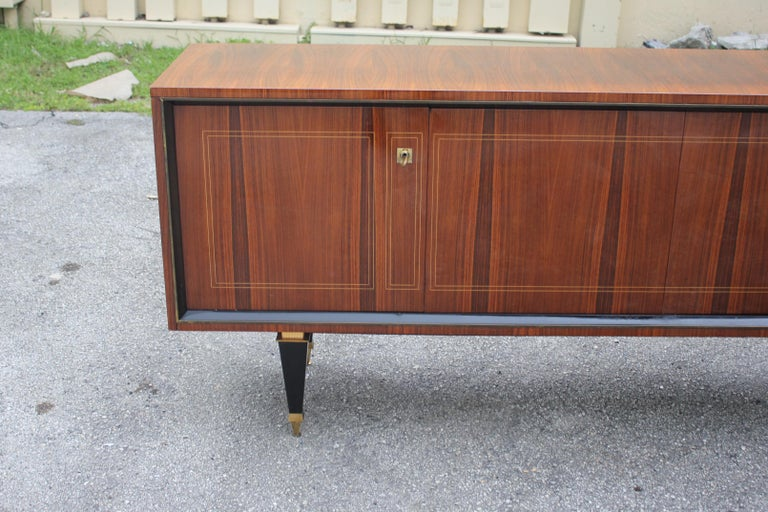 French Art Deco Exotic Macassar Bony Sideboard or Buffet, circa 1940s For Sale 5