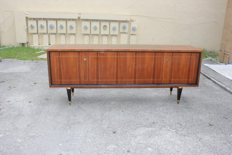 French Art Deco Exotic Macassar Bony Sideboard or Buffet, circa 1940s For Sale 6