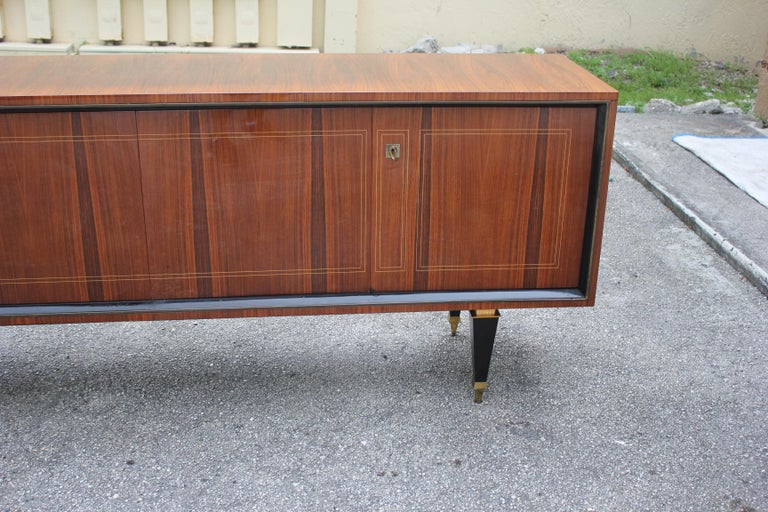 French Art Deco Exotic Macassar Bony Sideboard or Buffet, circa 1940s For Sale 7