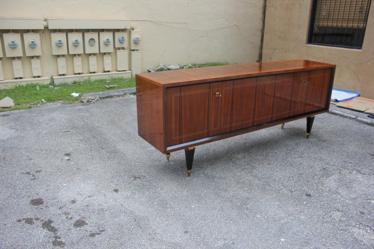 French Art Deco Exotic Macassar Bony Sideboard or Buffet, circa 1940s For Sale 8