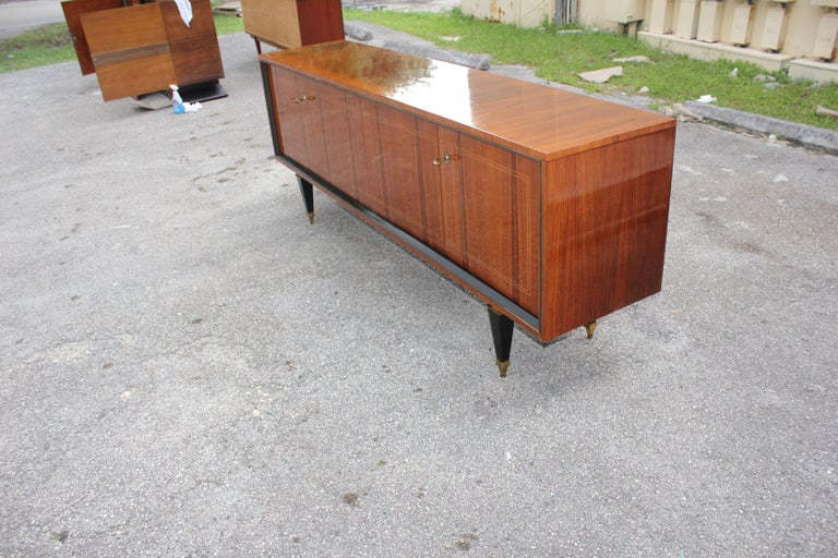 French Art Deco Exotic Macassar Bony Sideboard or Buffet, circa 1940s For Sale 9