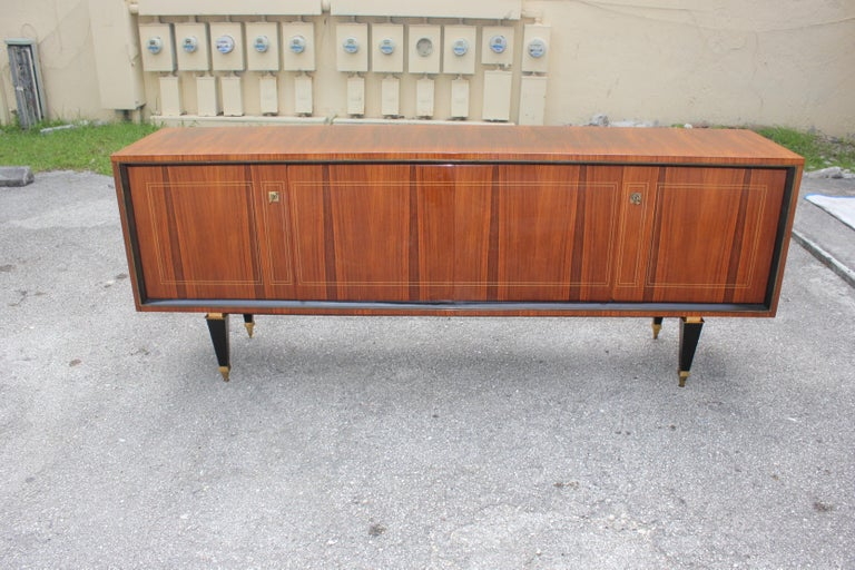 French Art Deco Exotic Macassar Bony Sideboard or Buffet, circa 1940s For Sale 10