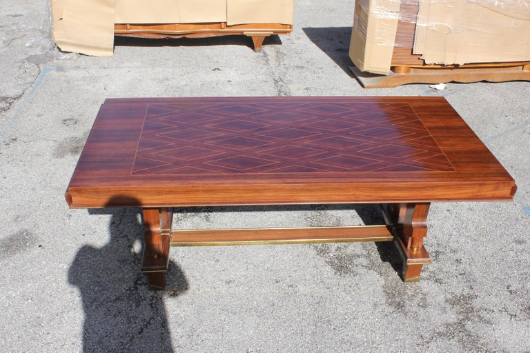 French Art Deco Dining Table with Diamond Marquetry by Jules Leleu Style In Excellent Condition For Sale In Hialeah, FL