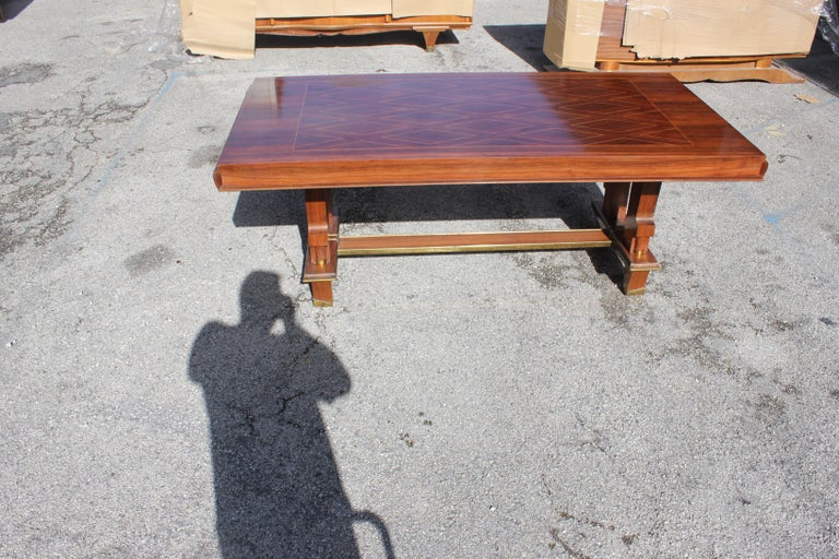 French Art Deco Dining Table with Diamond Marquetry by Jules Leleu Style For Sale 5