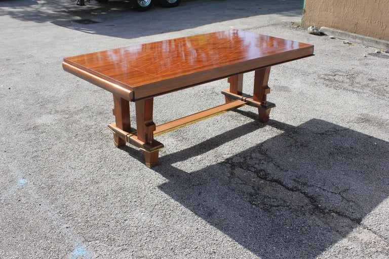 French Art Deco Dining Table with Diamond Marquetry by Jules Leleu Style For Sale 7