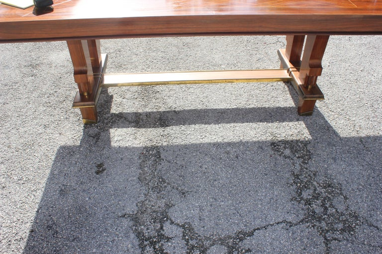 French Art Deco Dining Table with Diamond Marquetry by Jules Leleu Style For Sale 8