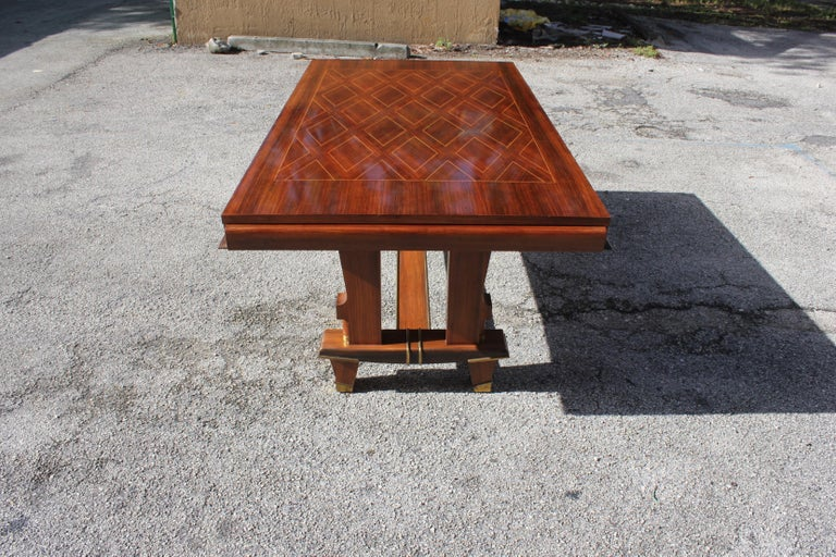 French Art Deco Dining Table with Diamond Marquetry by Jules Leleu Style For Sale 9