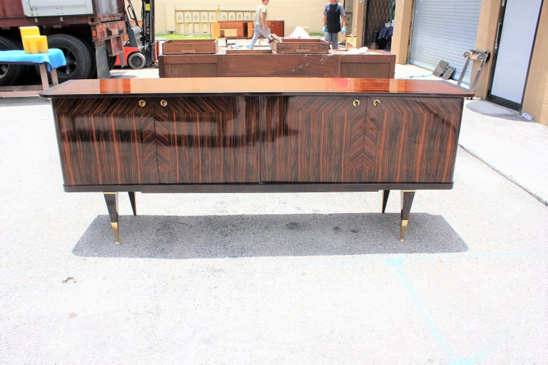 Bronze Long French Art Deco Macassar Ebony Sideboard or Buffet, circa 1940s For Sale