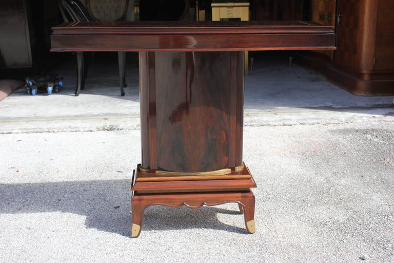 Pair of French Art Deco Palisander Console Tables by Jules Leleu, circa 1930s In Excellent Condition For Sale In Hialeah, FL