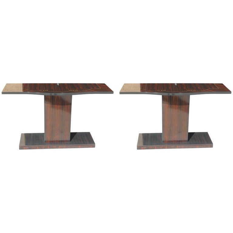 Beautiful Pair of French Art Deco Exotic Macassar Ebony Console Tables For Sale