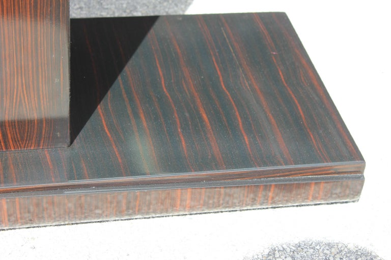 Beautiful Pair of French Art Deco Exotic Macassar Ebony Console Tables For Sale 5