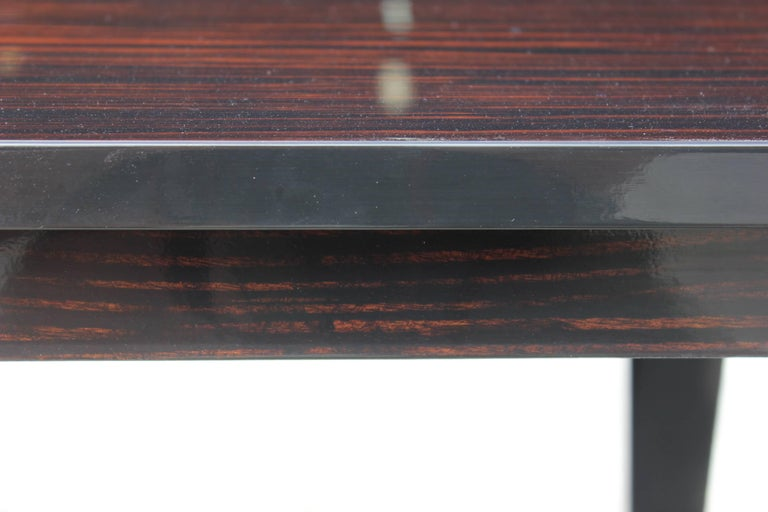 French Art Deco Exotic Macassar Ebony Game Table or Center Table, circa 1940s For Sale 3