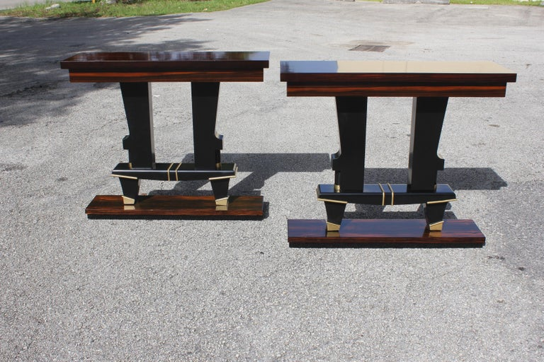Pair of French Art Deco Exotic Macassar Ebony Console Tables, circa 1940s For Sale 6
