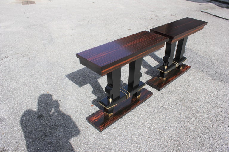 Pair of French Art Deco Exotic Macassar Ebony Console Tables, circa 1940s For Sale 7