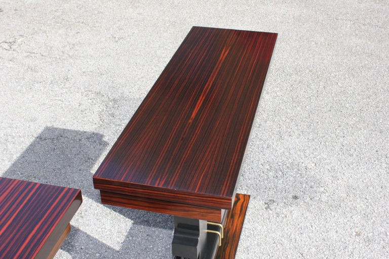Pair of French Art Deco Exotic Macassar Ebony Console Tables, circa 1940s For Sale 8
