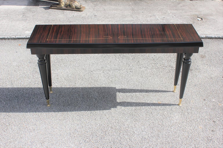 Unique French Art Deco Exotic Macassar Ebony Console Table, circa 1940s In Excellent Condition For Sale In Hialeah, FL