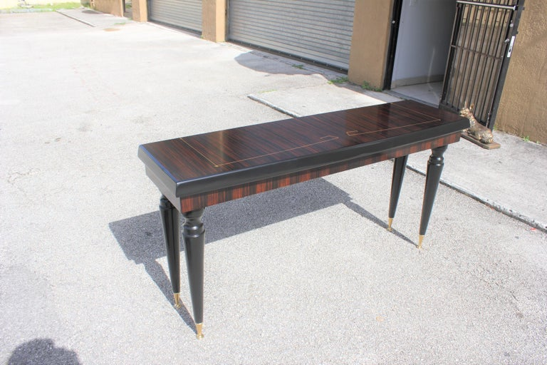 Brass Unique French Art Deco Exotic Macassar Ebony Console Table, circa 1940s For Sale