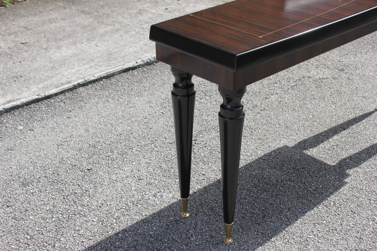 Unique French Art Deco Exotic Macassar Ebony Console Table, circa 1940s For Sale 3