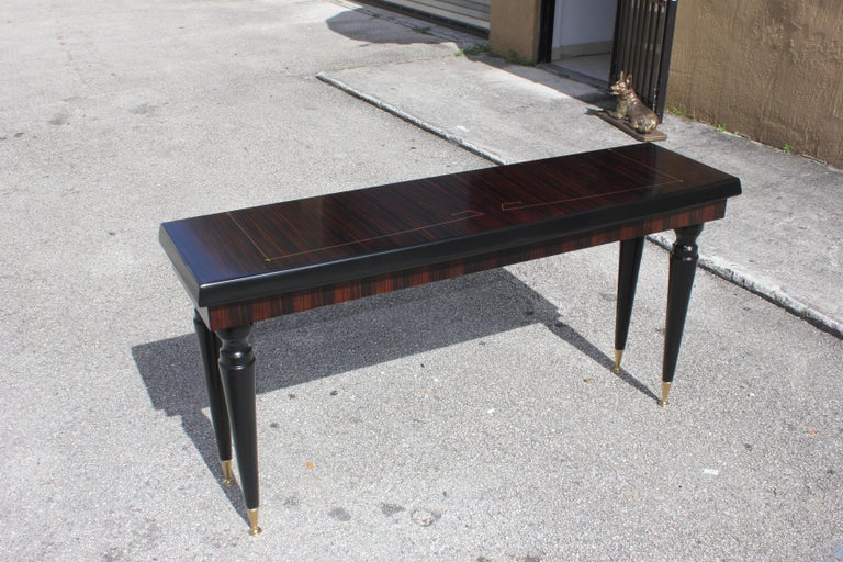 Unique French Art Deco Exotic Macassar Ebony Console Table, circa 1940s For Sale 10