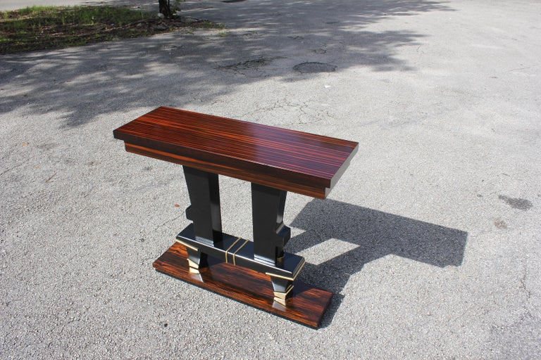 Classic French Art Deco Exotic Macassar Ebony Console Tables, circa 1940s For Sale 2