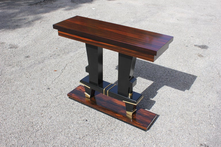 Classic French Art Deco Exotic Macassar Ebony Console Tables, circa 1940s For Sale 10