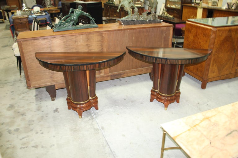 Pair of French Art Deco Exotic Macassar Ebony Console Tables, circa 1940s For Sale 9