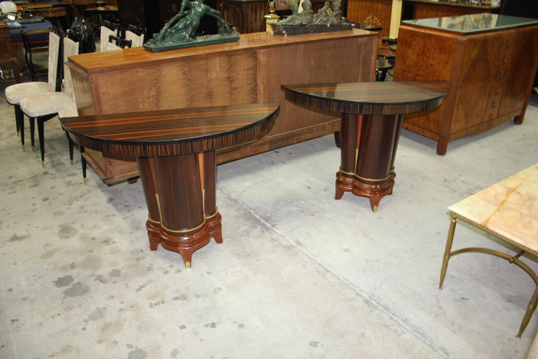 Pair of French Art Deco Exotic Macassar Ebony Console Tables, circa 1940s For Sale 12