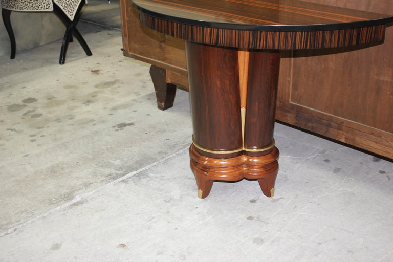 Pair of French Art Deco Exotic Macassar Ebony Console Tables, circa 1940s For Sale 13