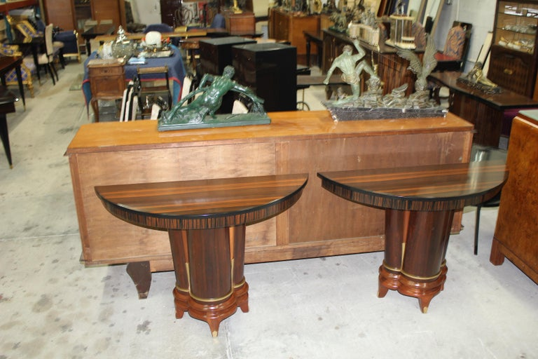 Pair of French Art Deco Exotic Macassar Ebony Console Tables, circa 1940s For Sale 14