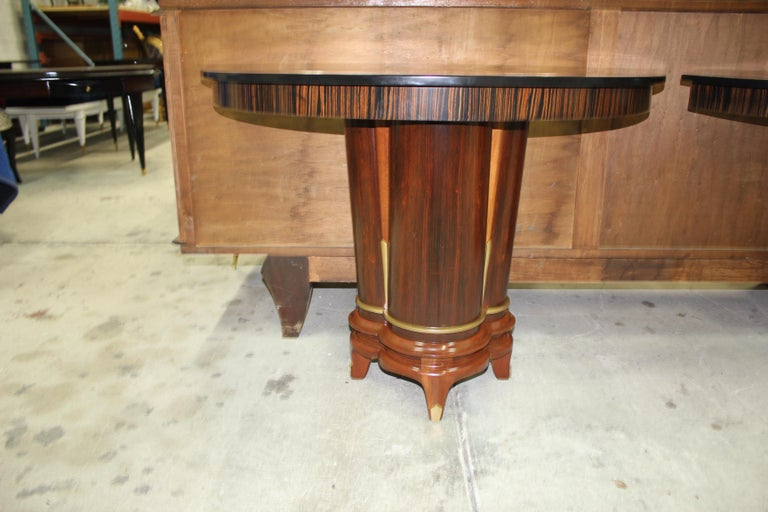 French Art Deco Exotic Macassar Ebony Console Tables, circa 1940s For Sale 4