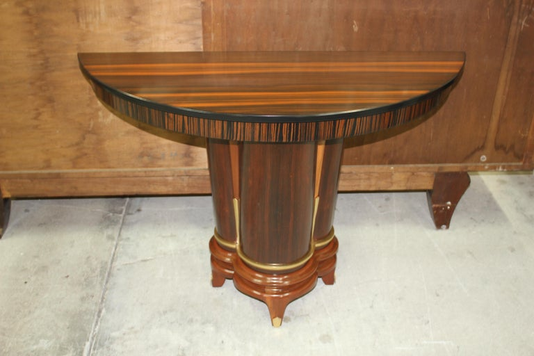 French Art Deco Exotic Macassar Ebony Console Tables, circa 1940s For Sale 7