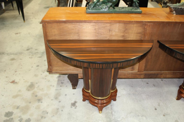 French Art Deco Exotic Macassar Ebony Console Tables, circa 1940s For Sale 13