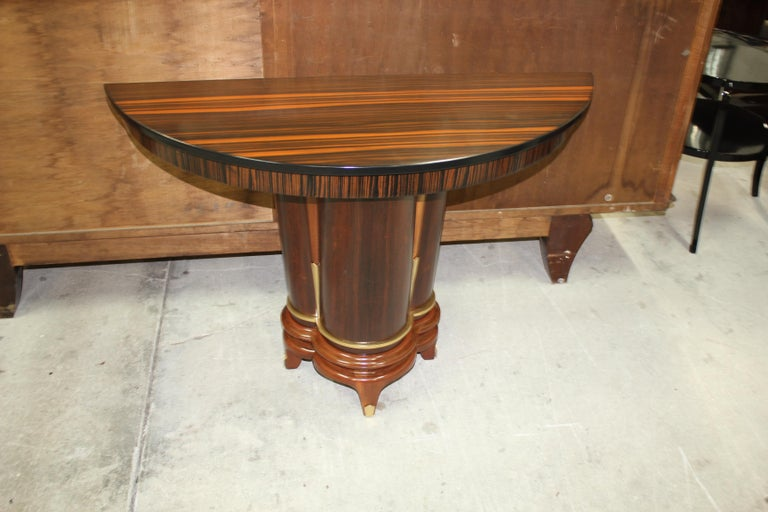 French Art Deco Exotic Macassar Ebony Console Tables, circa 1940s For Sale 16