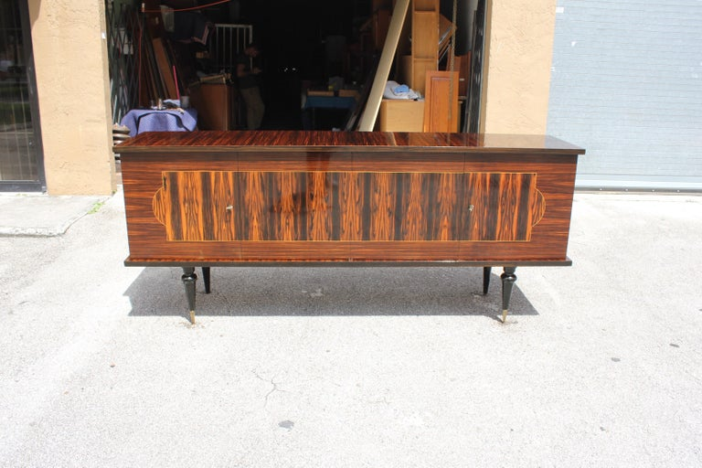 French Art Deco Exotic Macassar Ebony Sideboard or Buffet, circa 1940s For Sale 13