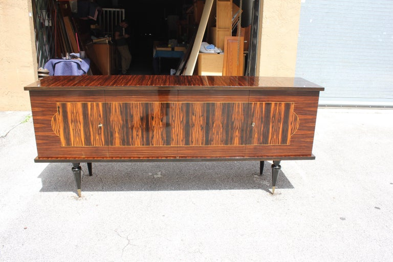 French Art Deco Exotic Macassar Ebony Sideboard or Buffet, circa 1940s For Sale 15